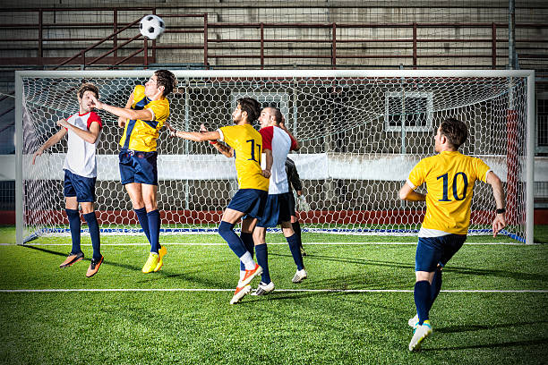 Football match in stadium: Header stock photo