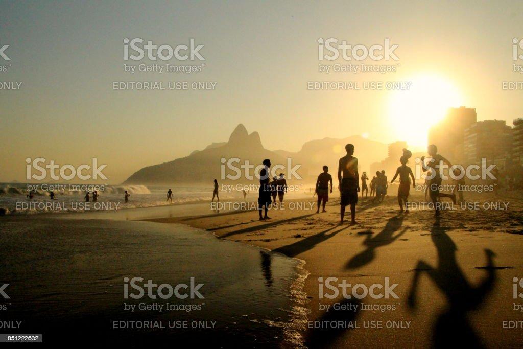 Football on Ipanema Beach stock photo