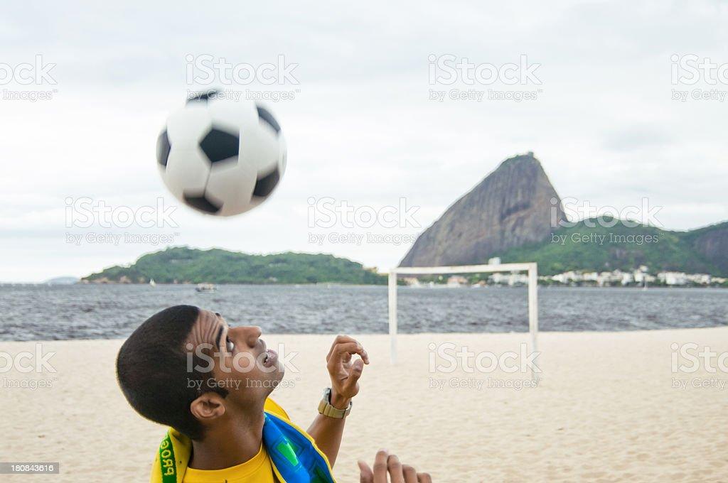 Football on Praia do Flamengo, Rio de Janeiro, Brazil stock photo