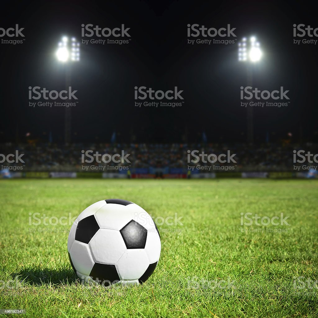football on the field stock photo