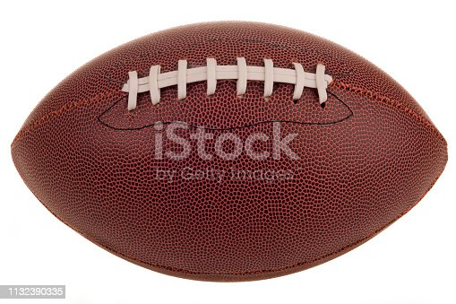 An American football on a white background