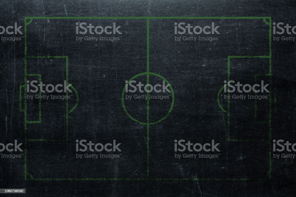 Football or soccer field isolated on blackboard texture with chalk...