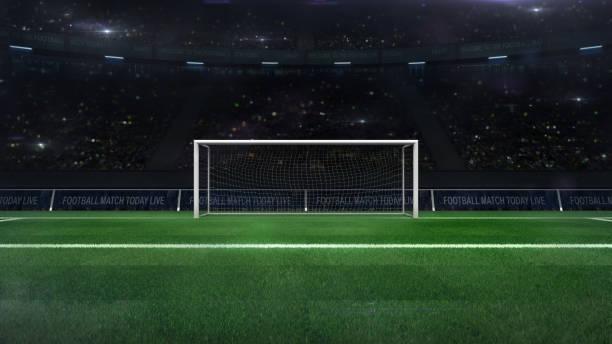 voetbal of voetbal goal gate close-up met groene gras en fans achter - scoren stockfoto's en -beelden