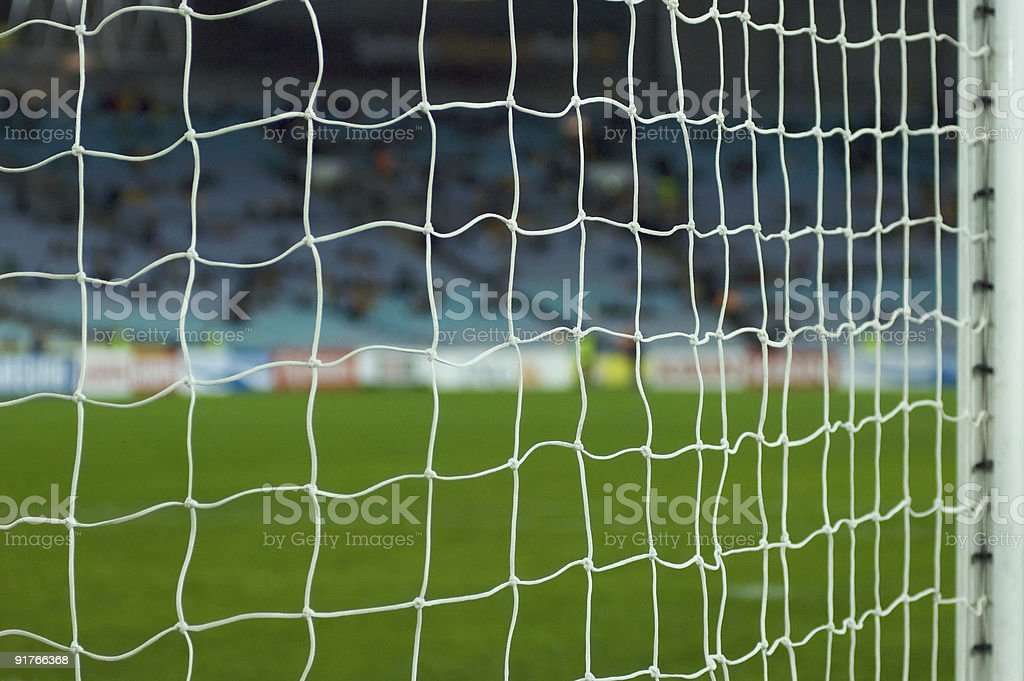 Football pitch from behind the goal stock photo