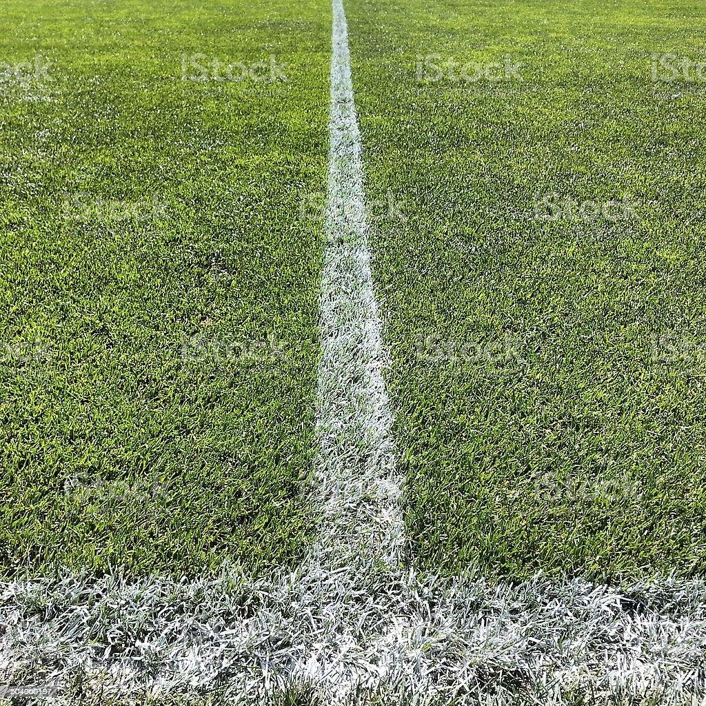 Football pitch halfway line stock photo