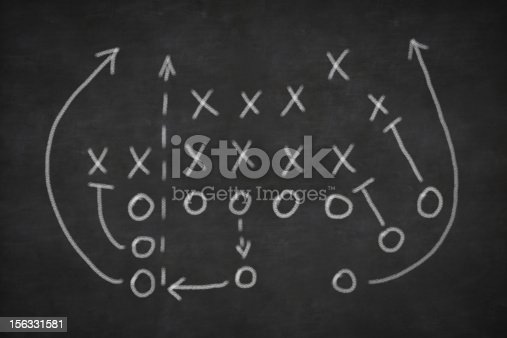 istock Football play sketched on a blackboard 156331581