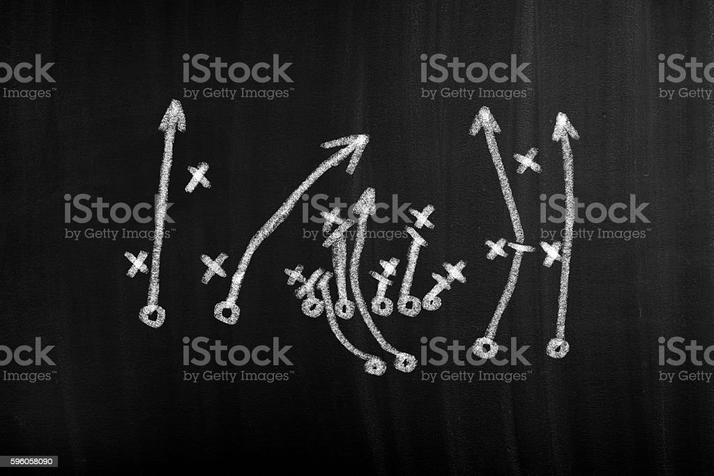 Football play strategy drawn out on a chalk board royalty-free stock photo