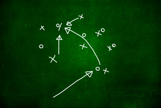 Football play strategy drawn out on a chalk board. Strategy or Plan Competition Concept. stock photo