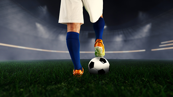 football player and stadium,starting the night match.