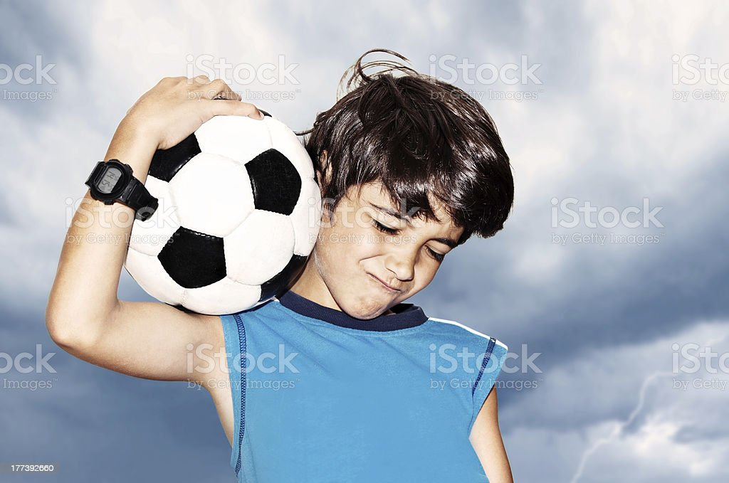 Football player celebrating victory stock photo