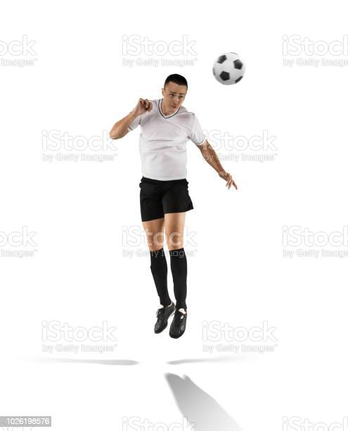 Football player hitting the ball with head isolated on white picture id1026198576?b=1&k=6&m=1026198576&s=612x612&h=li8ekigcpkwkpgdkfwc4eohnfnidima8jkp4fn6t aa=