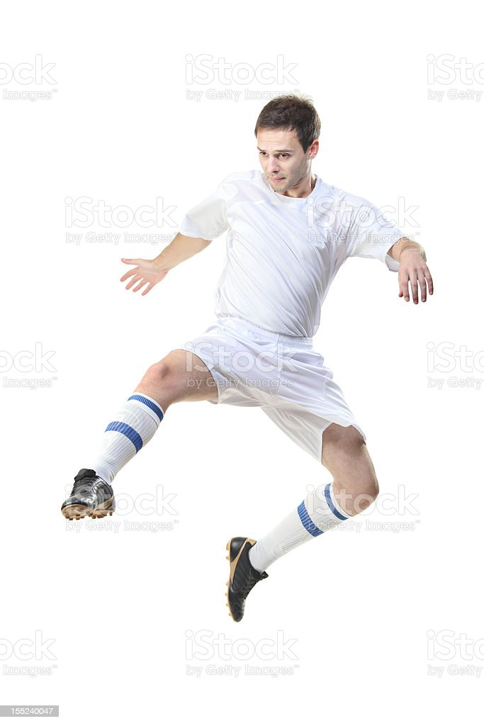 Football player in jump royalty-free stock photo