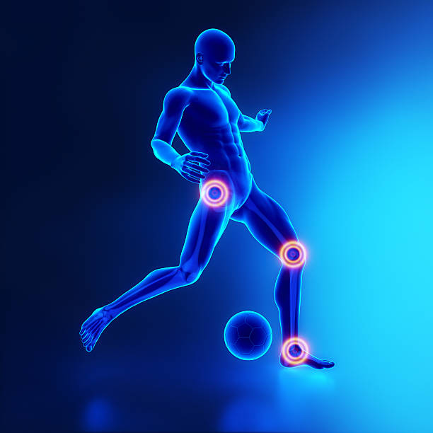 Football player most injured joints concept stock photo