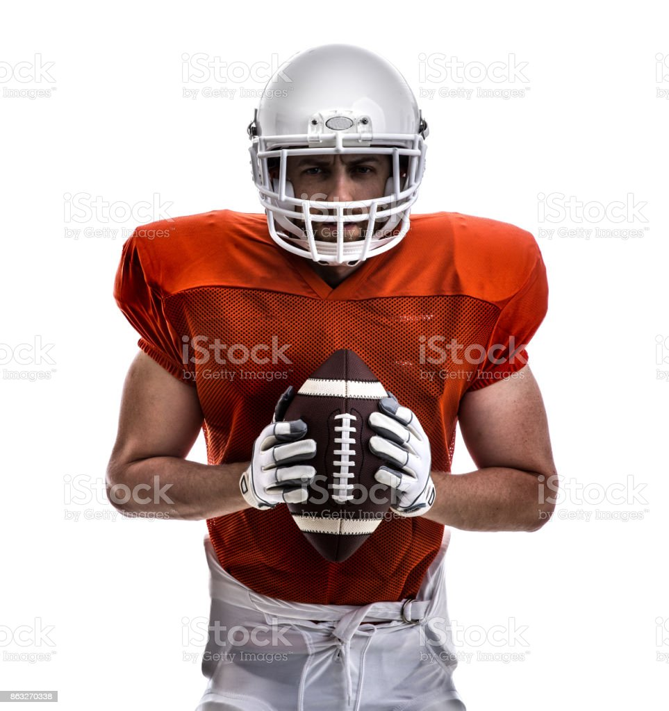 Football player on red uniform isolated on white background stock photo