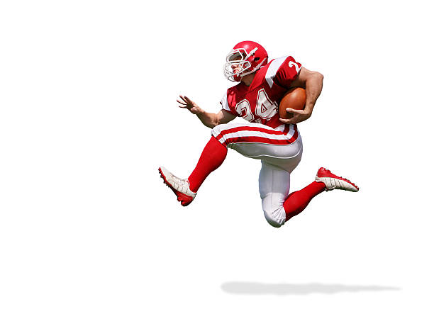 Football Player Running with Clipping Path Football player running extremely fast with dynamic body language. File includes clipping path and drop shadow. american football player stock pictures, royalty-free photos & images