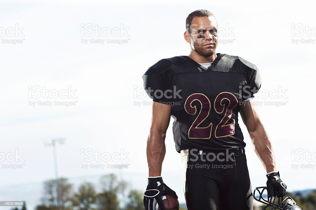 Football Player with Copy Space stock photo