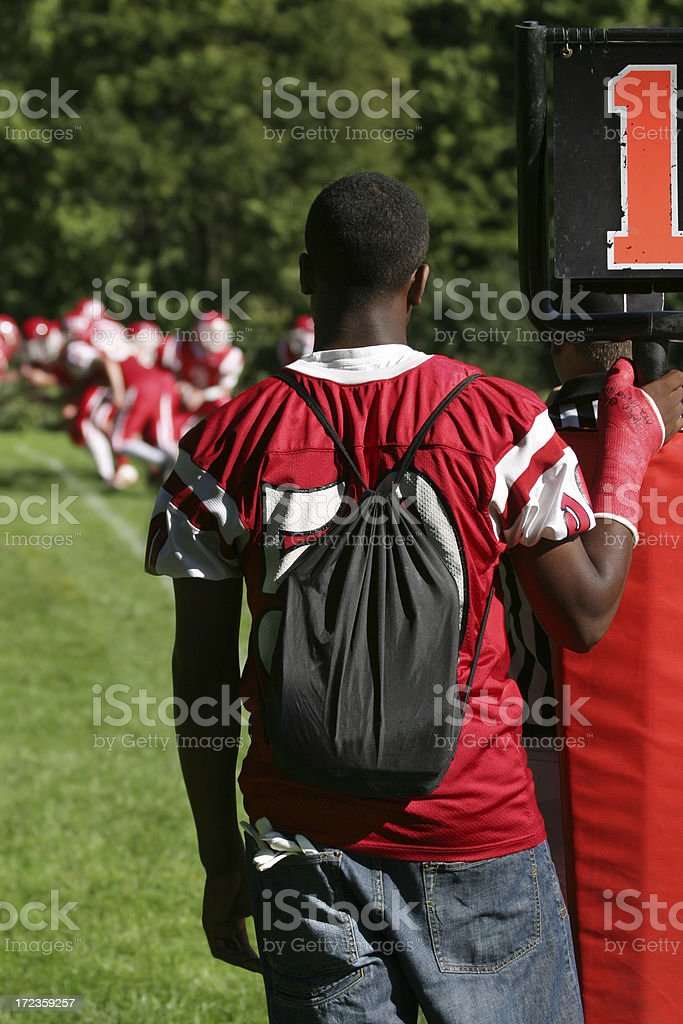 Football Player with Injured Arm royalty-free stock photo