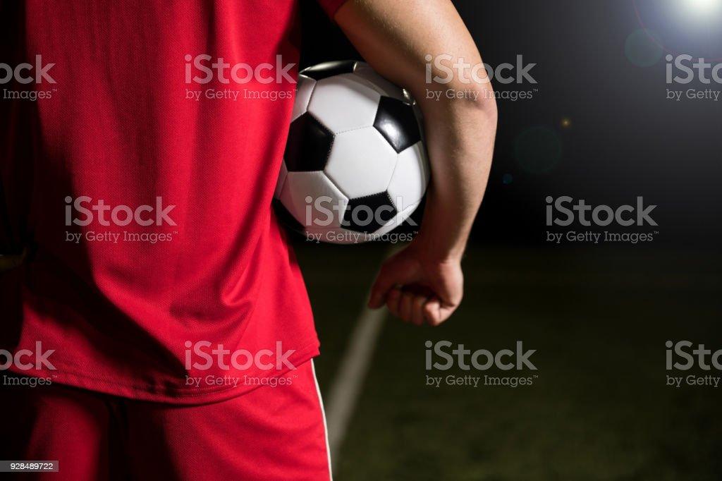 Joueur de football avec ballon de foot - Photo