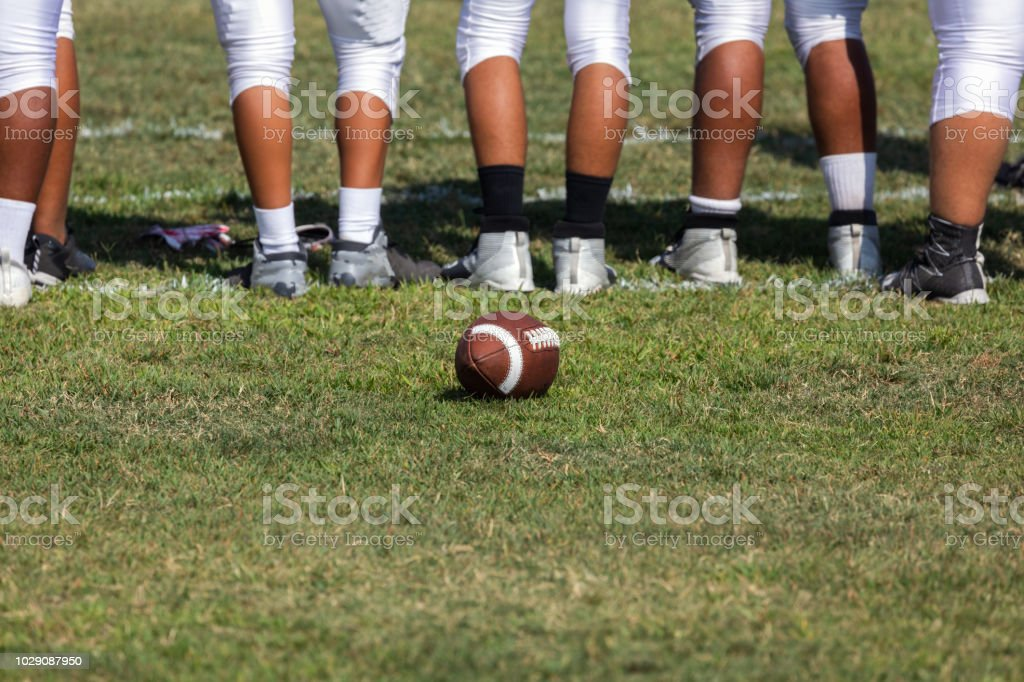 Football players ready for the game stock photo