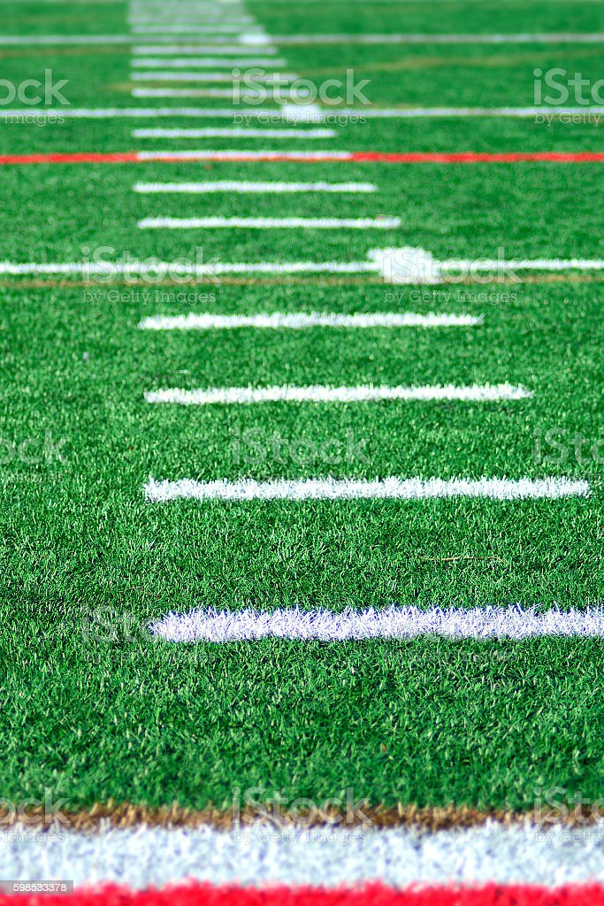 Football Playing Field Hashmarks On Artificial Grass photo libre de droits