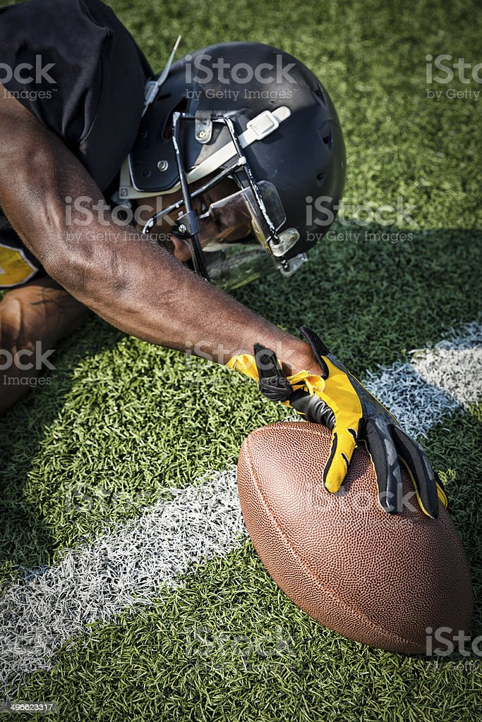 Football Reaches for the Goal Line stock photo