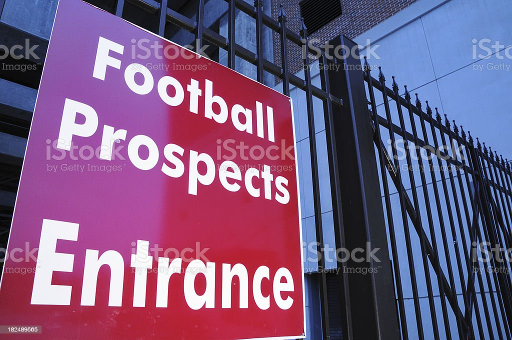 Football recruit entrance sign royalty-free stock photo