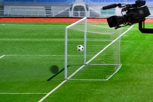 VAR  Football referee shows video assistant referees action. VAR  Football referee shows video assistant referees action. var stock pictures, royalty-free photos & images
