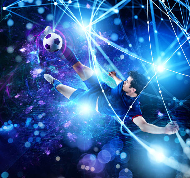 Football scene with soccer player in front of a futuristic digital background - foto stock