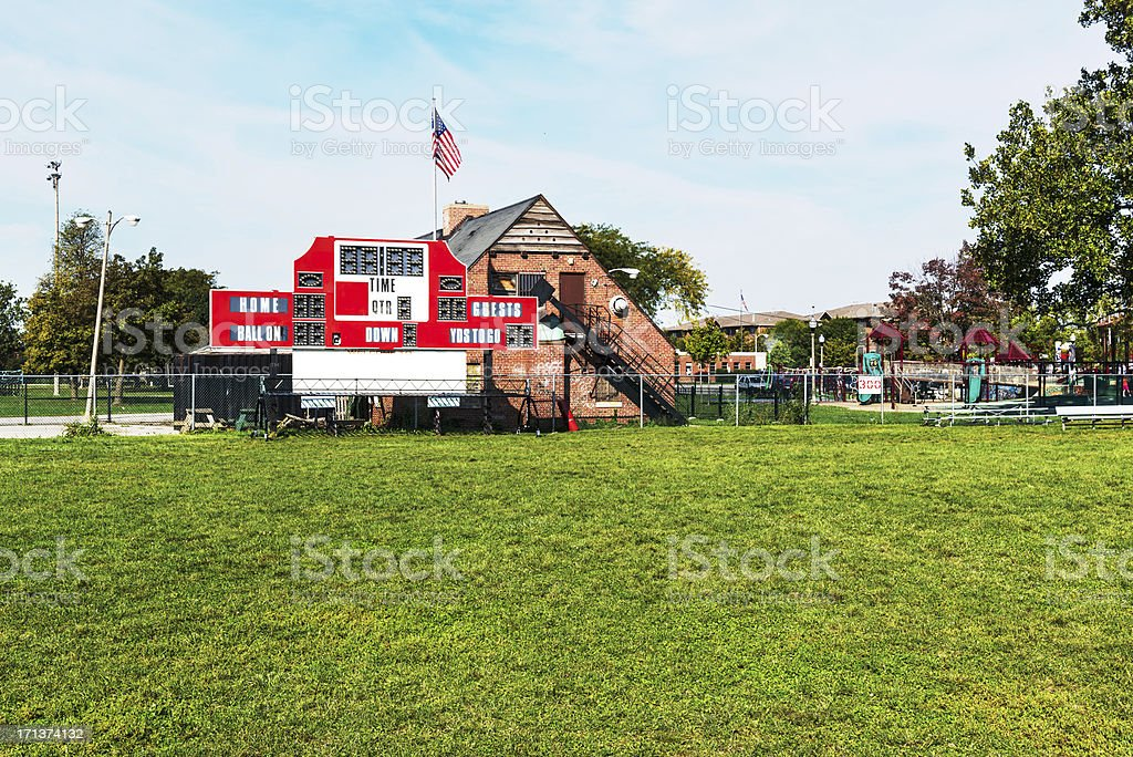 Football Scoreboard, Mount Greenwood Park, Chicago royalty-free stock photo