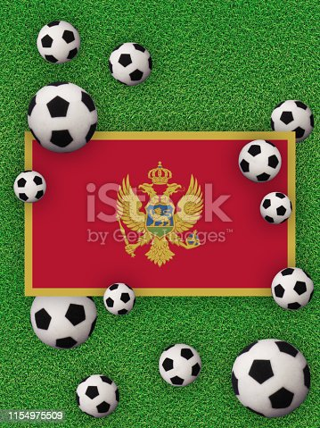 Football, soccer 2020. Montenegro, flag with football balls on a grass background. Championship in Europe. Photography/3d render