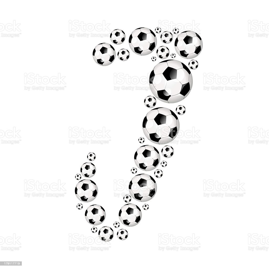 Football, soccer alphabet letter J royalty-free stock photo