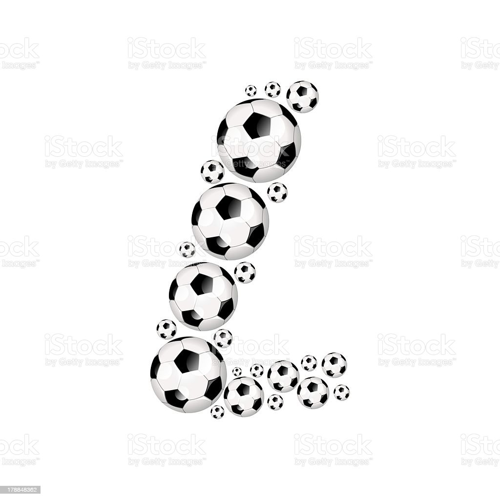 Football, soccer alphabet letter L royalty-free stock photo