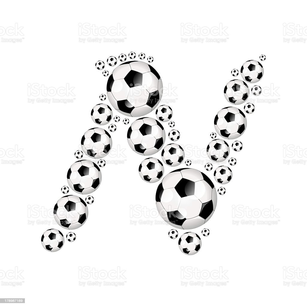 Football, soccer alphabet letter N royalty-free stock photo