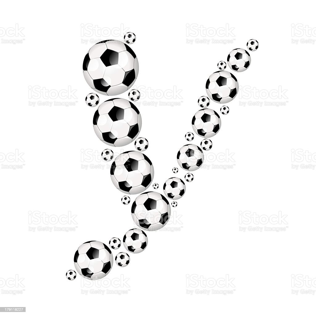 Football, soccer alphabet letter Y royalty-free stock photo