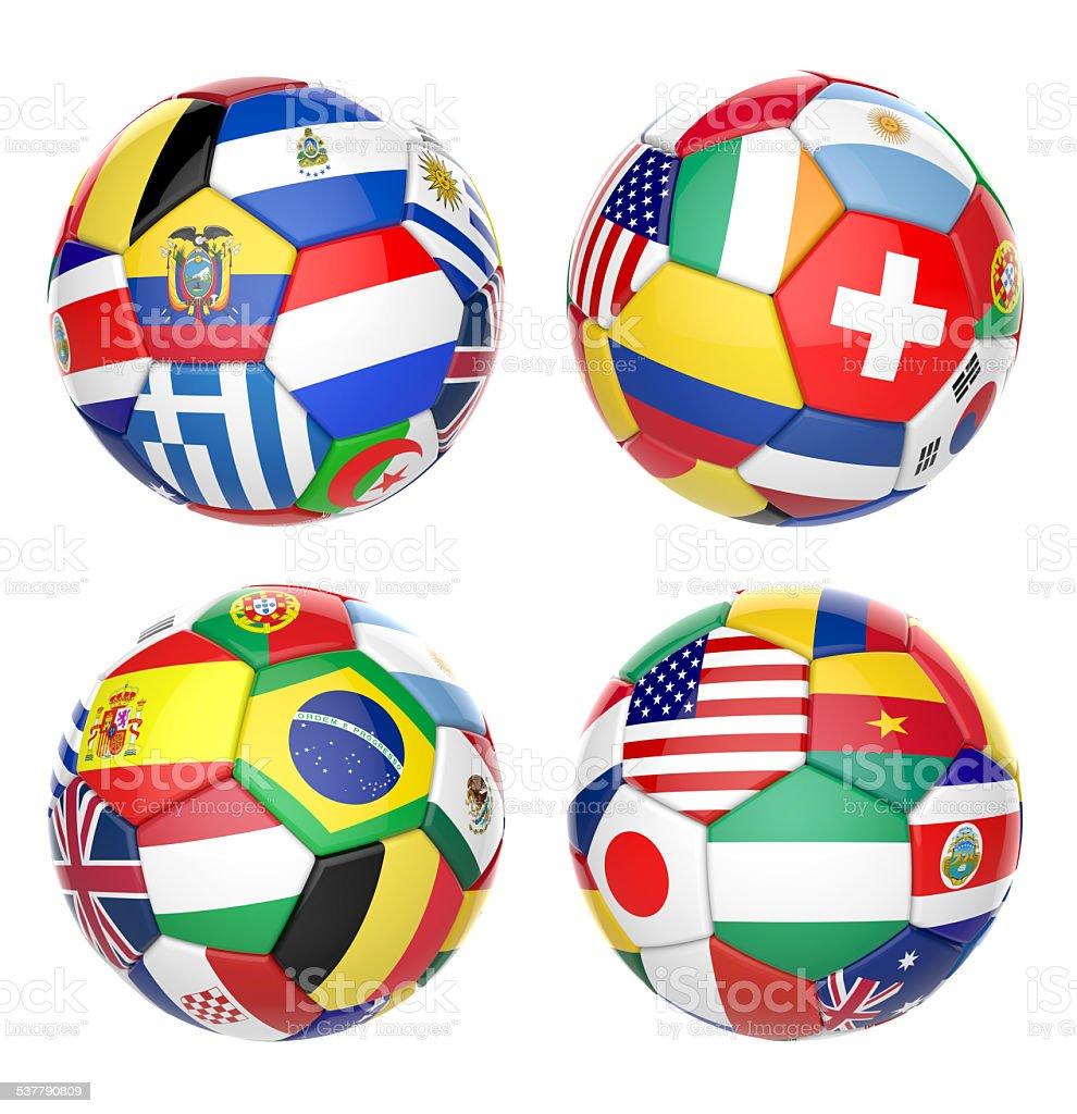 3 D football soccer ball con equipos de banderas de las Naciones Unidas - foto de stock