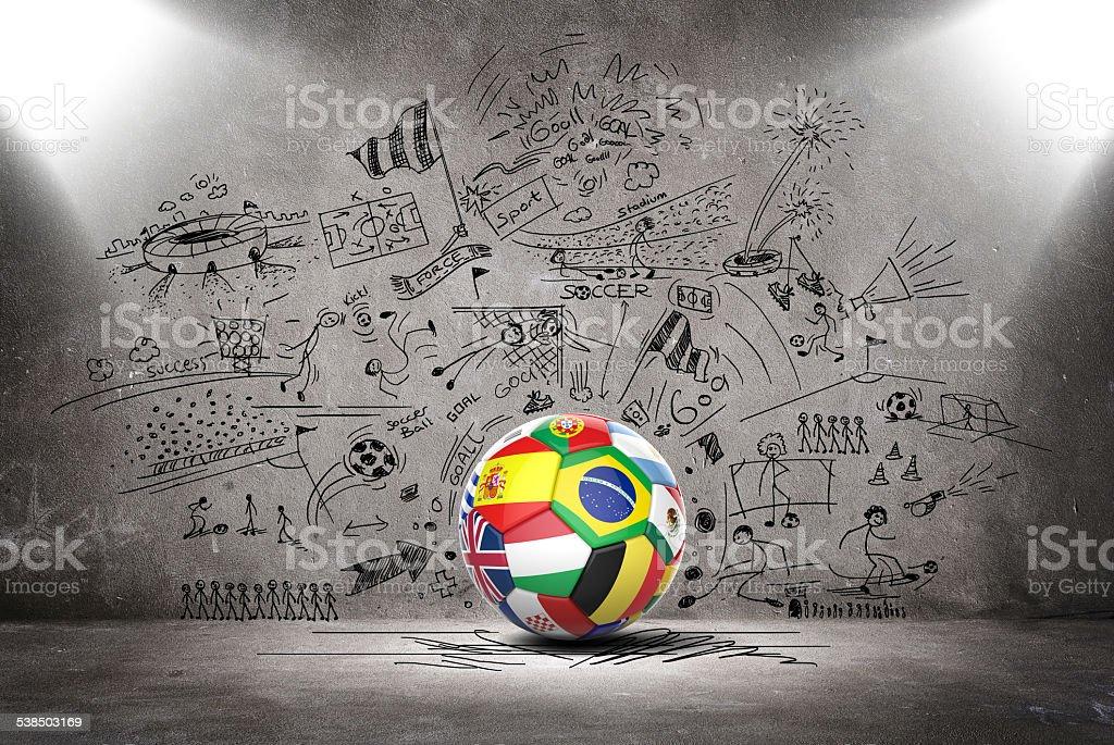 3 D bola de futebol com as equipes bandeiras Nações - foto de acervo