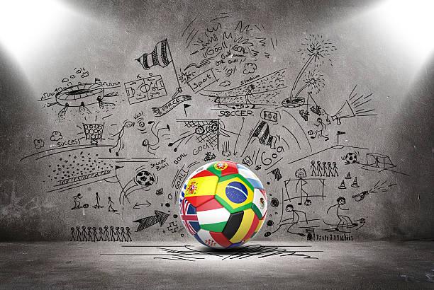 3d football soccer ball with nations teams flags - football portugal flag bildbanksfoton och bilder