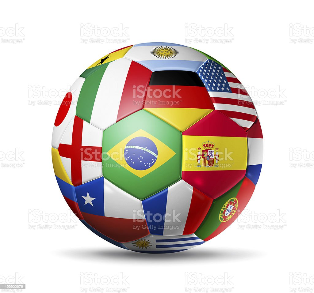 2014, football soccer ball with world teams flags royalty-free stock photo