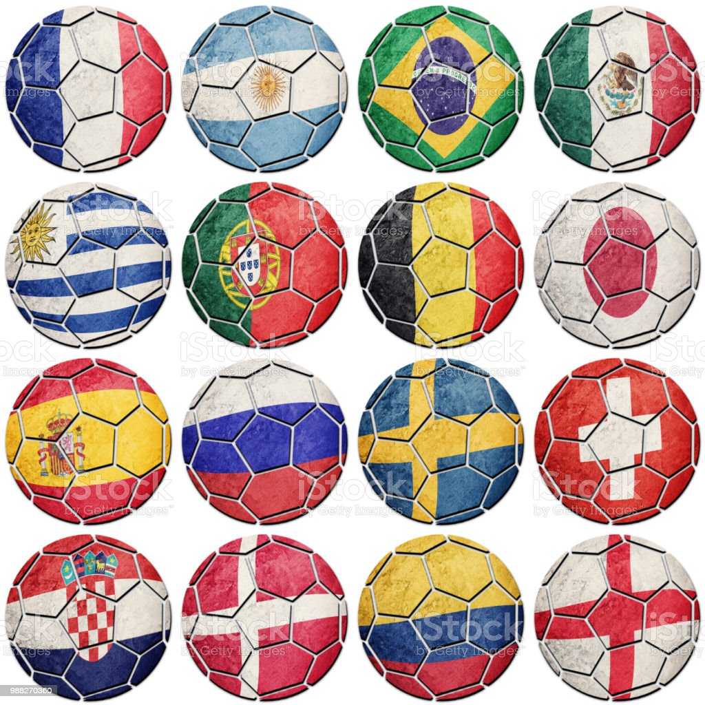 Football soccer balls with national flags. - foto stock