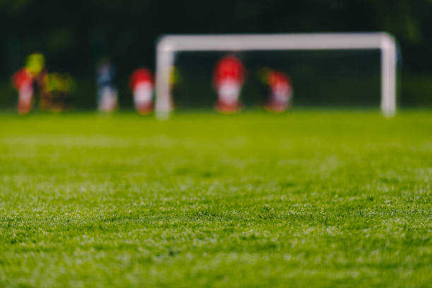 football soccer field. low angle image of green turf on soccer pitch - soccer competition stock photos and pictures
