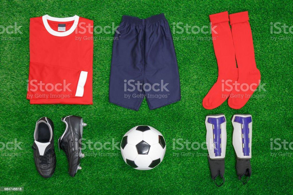 Football Soccer flat lay stock photo