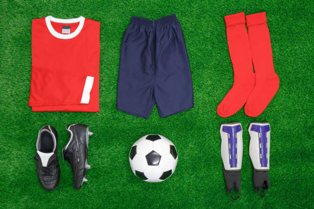 Football Soccer flat lay stock photo