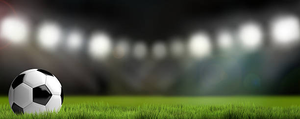 football soccer stadium background. 3D render football – Foto