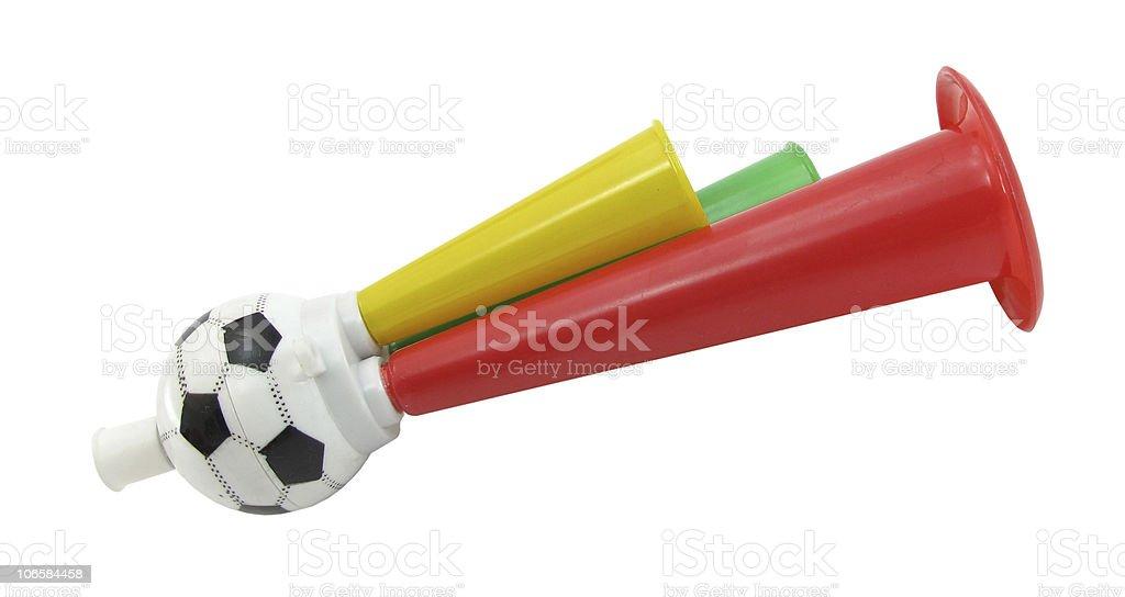 Football soccer triple fan trumpet stock photo