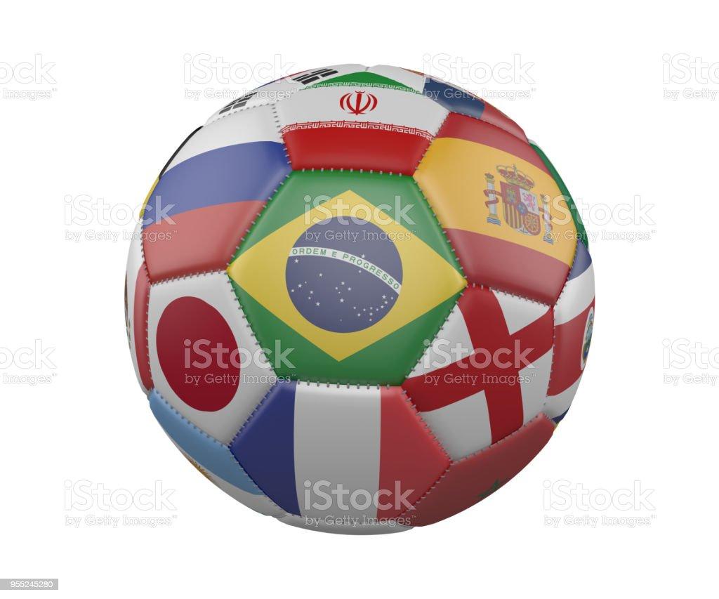 Fútbol balón de fútbol con banderas aislado sobre fondo blanco, Brasil en el centro, render 3d. - foto de stock