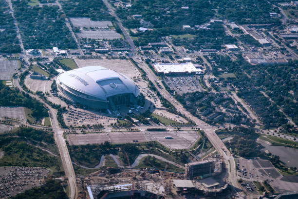 AT&T football Stadium, aerial view stock photo