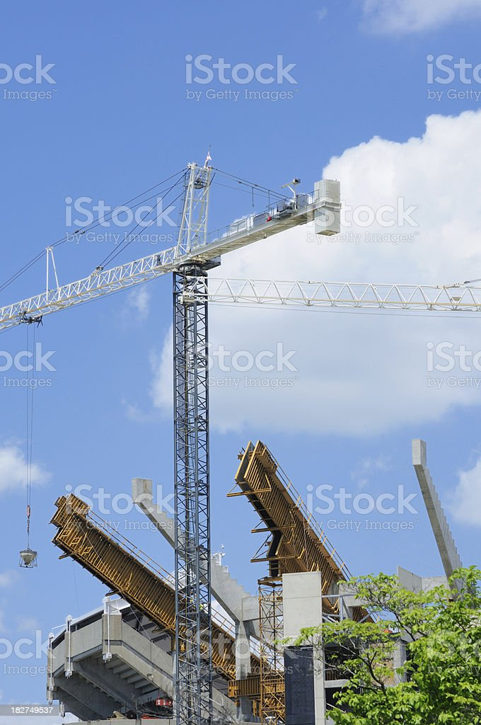 Football stadium construction stock photo