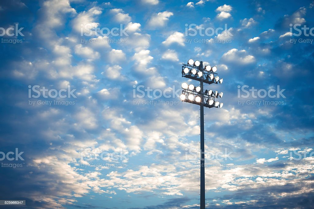 Football stadium lights stock photo