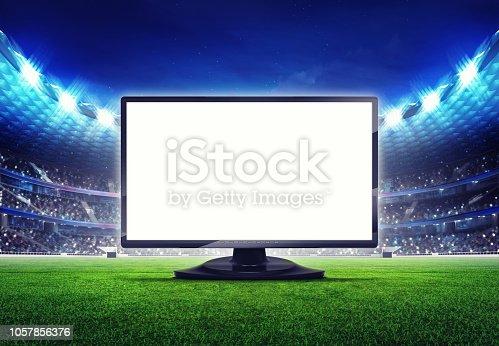istock football stadium with empty editable tv screen frame 1057856376