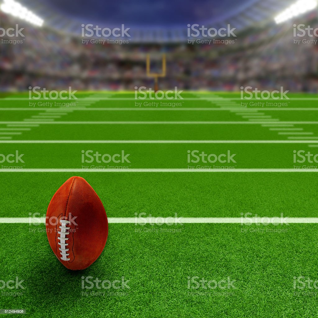 Football Stadium With Football and Copy Space stock photo